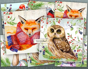 Winter Animals - set of 6 cards - digital collage sheet - Printable Download