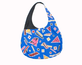 Blue Cotton Handbag One Strap Purse Retro 80s Prints Geometric Hobo Bag