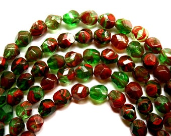 Bright and Colorful 8 mm Czech Red and Green Potato Beads