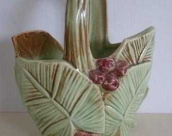 """Vintage McCoy Pottery Basket Vase""""Leaf and Berry"""""""