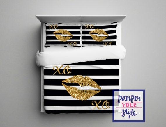 Gold Glitter Lips Bedding Black And White Stripe Glitter