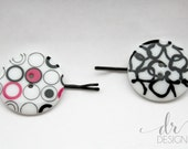 Black and White Button Bobby Pins