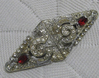 """Art Deco 1930's Duette Pin Dress Clips Red & Clear Rhinestones 3"""" x 1.25"""" Fur Clips Very Detailed Double Clip"""