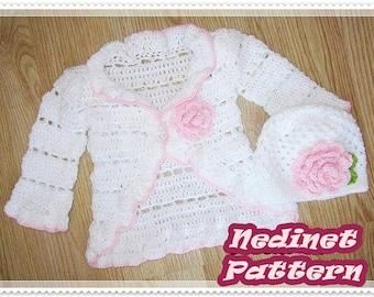 Crochet baby cardigan pattern, crochet beanie pattern, ruffled cardigan, crochet beanie pattern, 0-4 years sizes, How to make baby cardigan