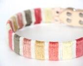 Dog Collar Sleeve // Peach Velvet Stripe // SLEEVE ONLY