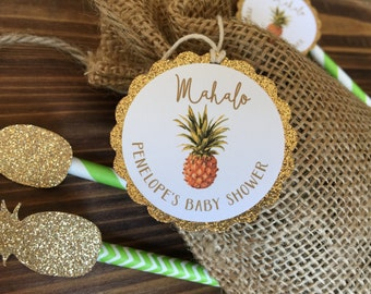 Gold Glitter Tropical Pineapple Thank You Favor Tag - Mahalo Tropical Favor Tag - Pineapple Baby Shower Favor Tag
