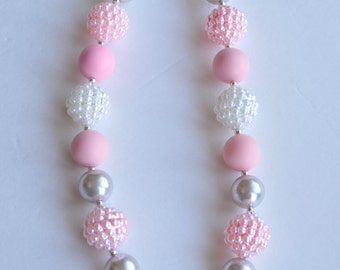20% Off!!! - Children's Chunky Necklace - Pink, White and Gray