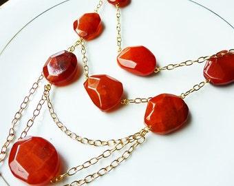 Red Semi Precious Stones Multi Strand Gold Necklace