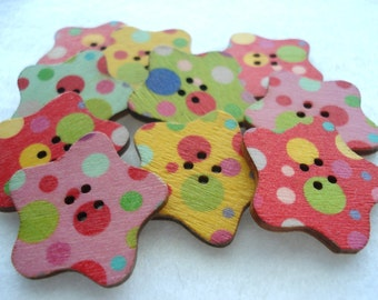 30mm Wood Star Buttons Bright Spot Pattern Pack of 12 Large Star Buttons W3083