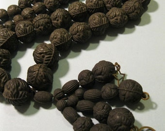 antique victorian mourning necklace rose beads