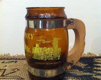 Vintage Sydney souvenir mug Beer stein, amber glass Tankard, barrel beer, Made in Australia