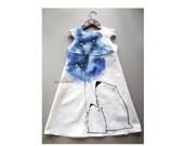 Girl dress -white bears painted dress- white dress - ON ORDER ONLY - children summer clothing - my little pony - rustic  linen girl dress
