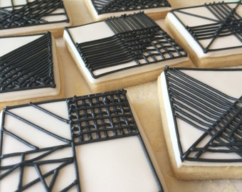 Graphic Black and White Decorated Sugar Cookies-1 dozen