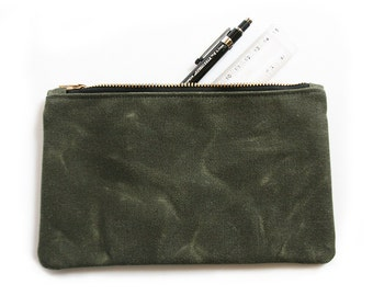 Dark Olive Waxed Canvas Zipper Pouch