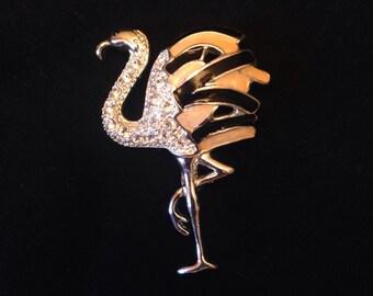 50% SALE Flamingo Brooch..Flamingo Pin..Flamingo Jewelry..Flamingo Party..Bird Brooch..Bird Pin..Bird Jewelry..Enamel Pin..Vintage 80s NOS