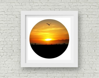 Sunset Photography - Venice Beach California - Orange Sunset Circle Art Print - Beach Decor