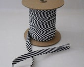 "Wholesale Sewing Supplies Double Fold Bias Tape 1/2"" Extra Wide 10 yards BLACK WHITE STRIPE"