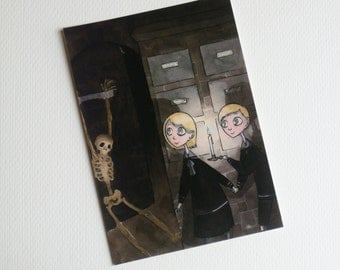 Creepy Twins at Home in a Crypt - Gothic Illustration - Postcard Print