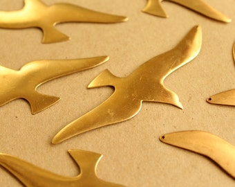 2 pc. Jumbo Raw Brass Seagull Charms: 86mm by 40mm - made in USA | RB-648