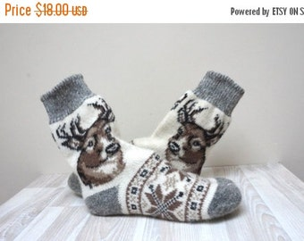 HALLOWEEN SALE Deer Socks Stockings knitted Leg warmer milk white size 7 8 9 37-39 gray stripe brown handmade scandinavian pattern ready to