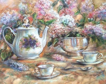 Tea and Lilacs - By Laurie Shanholtzer- a 225 piece Wooden Jigsaw Puzzle from BCB Puzzles