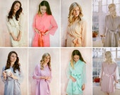 8 Custom soft pastel bridesmaid robes. Made to order in your choice of colors. Great as bridal robes and gifts for bridesmaids.