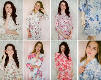 8 custom lined robes in cotton. Pastel floral robes, cotton kimonos and dressing gowns in delicate floral prints with pockets