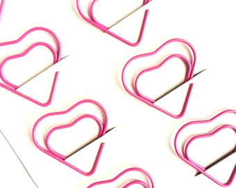 Set of 10 Pink Heart Shaped Paperclips