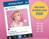 PDF Instagram Style Social Media Photo Prop Frame, Photo Booth Prop, Instagram Prop, Large Wedding Sign, Printable PDF, SALE 70% Off !!