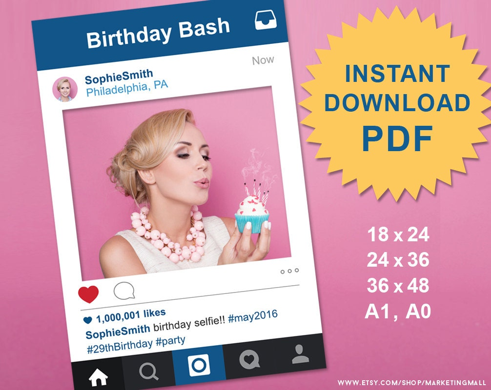 PDF Instagram Style Social Media Photo Prop Frame Photo Booth