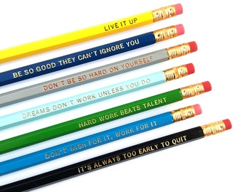 Motivational Tidbits Pencil Set — 7 Engraved Pencils, Live it Up, Hard Work Beats Talent, Motivational Gift, Too Early to Quit