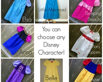 "ADD ON Set of 3 for Order  American Girl 18"" Doll Pick 6 Disney Princess Dresses Made to Match"