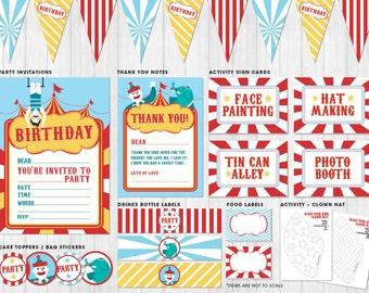 Circus Party Pack Printables // Digital files to print