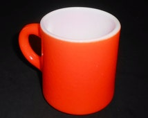 Vintage Mug, Orange, Coffee Mug, Orange Peel Texture, Coffee Cup, Milk Glass,