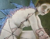 Embroidery on vintage art book page OOAK