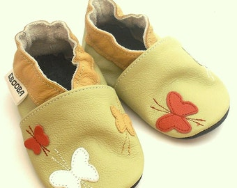 soft sole baby shoes handmade girl butterfly olive white red 12-18 m bebes fille cuir souple chaussons Krabbelschuhe porter ebooba BF-31-O-M