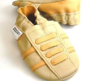 soft sole baby shoes leather infant sport beige yellow 18-24 bebes fille Krabbelschuhe Lederpuschen chaussons chaussures ebooba SP-33-BE-T-4