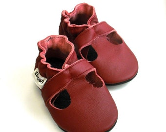 soft sole baby shoes handmade infant gift sandals maroon 0 6 m ebooba SN-39-M-M-1