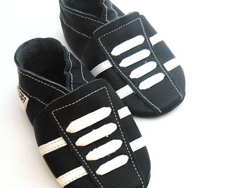 soft sole baby shoes leather infant sport black white 18 24 bebes garcon cuir souple chaussons chaussures Krabbelschuhe ebooba SP-27-B-M-4
