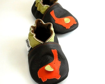 soft sole baby shoes leather infant kids children girl gift elephant orange dark brown 6 12 m chaussons chaussures cuir souple EL-27-DB-M-2
