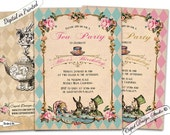 Alice in Wonderland birthday invitation girl/Birthday invitation printable/Digital/Birthday invitations for girls/Printed invitations.