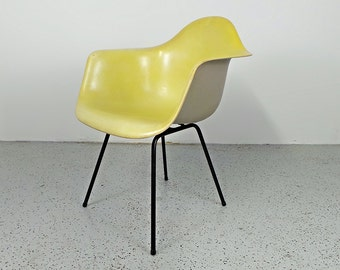 mid century modern Herman Miller Eames yellow fiberglass shell arm chair