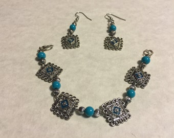 Silver and Turquoise Charm Set