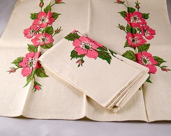 Set of Two Vintage Linen Tea Towels with Pinks & Greens Dogwood Style Flower Motif