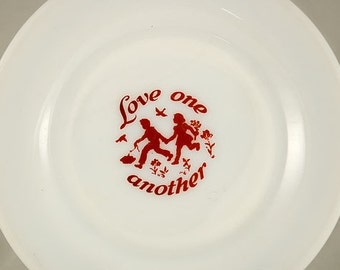 VIntage Milkglass Dessert Plate with Red Script Love One Another, 7 Inch