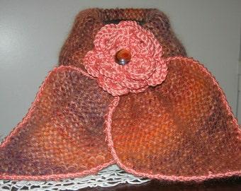 """Echarpe tour de cou en laine, acrylique et mohair """"CUIVRE """" -   création Misty Tuss Tricote"""