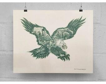 "FREE SHIPPING Philadelphia Eagle -- 11 x 14"" or 16 x 20"" Print -- Paul Carpenter Art -- Philly Artist Print"