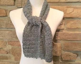 Gray scarf, sequin scarf, crochet scarf