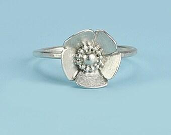 Flower Ring, Sterling Silver Flower Ring, Single Flower Ring, Handmade Flower Ring, Silver Flower, Delicate Flower Ring, Flower Jewelry