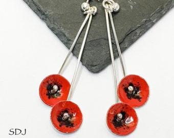Poppy Earrings/ Red Poppy Earrings/ Long Silver Poppy Earrings/ Dangle Earrings/ Flower Jewelry